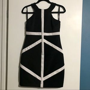 Black Fitted Sheath Dress with White Line Details